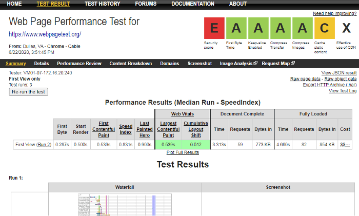 web page tests